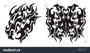 tribal dragon head dragon butterfly tattoo stock vector 228567052