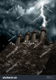 computergenerated 3d graphic depicting spooky castle stock