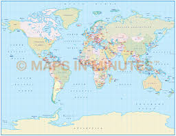 Labeled World Map by Vector World Map Gall Projection Political Map Small Scale Uk