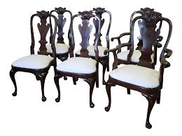 queen anne dining room sets set 6 solid mahogany