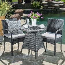 peterson outdoor 3 piece wicker bistro set with cushions by