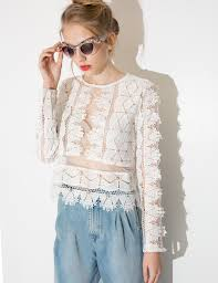 sleeve lace blouse lace crop top crochet sleeve top