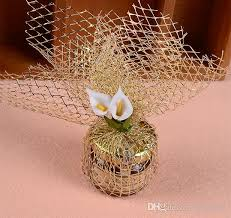 wedding gift gold wedding favor wrapping package gold silver mesh net for candy and
