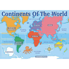 The World Map With Continents And Oceans by Continents Of The World Map Chart Pack