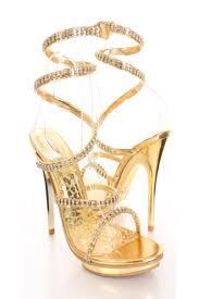 Rhinestone Sandal Heels Gold Spiral Wrap Around Rhinestone Sandal Heels Clubwear