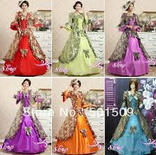 Ball Gown Halloween Costume Purple Green Red Blue Orange Choice Medieval Dress Renaissance