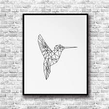 Geometric Hummingbird Canvas Painting Animal Poster Print Nordic