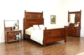 victorian 1890 antique carved cherry 3 pc bedroom set queen size
