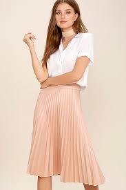 pleated skirt blush pink skirt midi skirt high waisted skirt pleated skirt