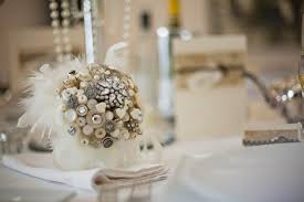 vintage glam wedding glam wedding bouquet of buttons brooches feathers