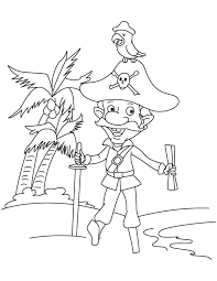 pirate captain parrot coloring download free pirate