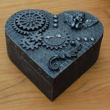 steampunk wooden box jewellery trinket unique handmade cogs gears