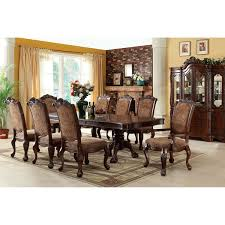 furniture of america eiko 9 piece antique cherry dining set with
