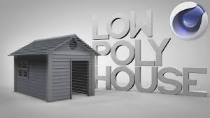 model a low poly minimalistic house cabin cinema 4d tutorial