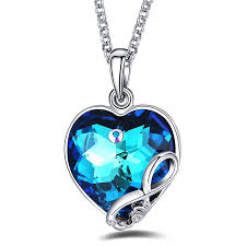 I Love You To The Moon And Back Personalized Necklace Amazon Com Foruiston Infinity Blue Swarovski Crystal Heart