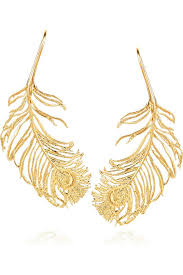 gold feather earrings alex 22 karat gold plated feather earrings jewelry trends