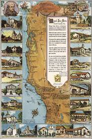San Gabriel Map Amazon Com 24x36 Poster Map Of California Missions 1949 Antique