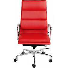 ea219 eames style office chair high back soft pad red leather