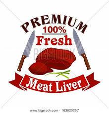 bacon ribbon meat liver butcher shop emblem vector photo bigstock