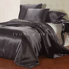 new charcoal grey satin quilt cover king size silk feel doona