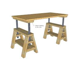 Adjustable Height Desk Diy by Ana White Build A Modern Indsutrial Adjustable Sawhorse Desk To