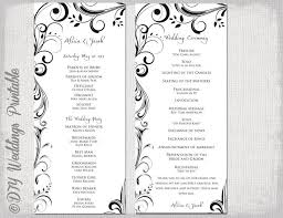 scroll wedding programs black white wedding program template instant scroll