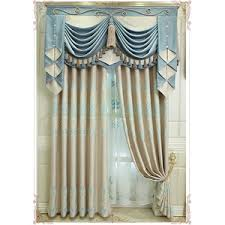 Blue Valance Curtains Beige And Blue Botanical Print Linen Country Custom Curtains