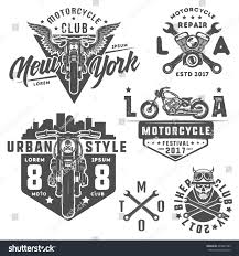 vintage jeep logo set motorcycle vintage style emblems logo stock vector 445001983