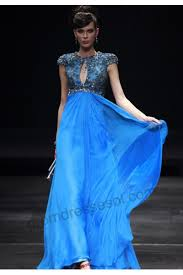 venus royal blue cap sleeve tencel evening dress 80583