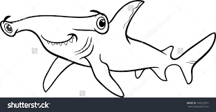 hammerhead shark clipart black and white pencil and in color