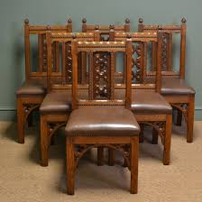 Antique Dining Furniture Rare Set Of Six Pugin Design Victorian Golden Oak Antique Dining