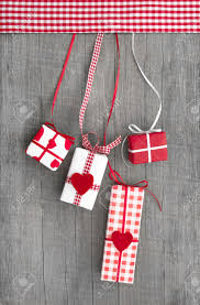 four gifts or presents with red hearts for mother s day valentine