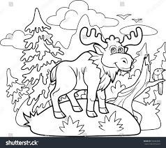 funny cartoon moose wanders through woods stock vector 550483096