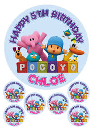 pocoyo cake toppers personalised pocoyo 7 5 6 x 2 edible toppers cake cupcake