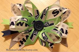 seahawk ribbon seattle seahawks hair bow momma s tulle shed