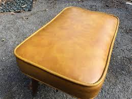 Vinyl Orange Ottoman Yellow Gold Vinyl Ottoman With Tapered Legs Attainable Vintage