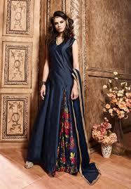 silk anarkali indian suits buy online navy blue indian kalidar suit
