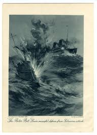 1916 great war print ocean liner attacked by submarine by charles