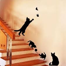 4 cute cats wall stickers for kid room stair diy home decals vinyl 4 cute cats wall stickers for kid room stair diy home decals vinyl art animals poster adesivos de paredes new art stickers for walls art wall decal from