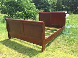 Solid Wood Sleigh Bed Shabby Chic Bed Frame Queen Susan Decoration