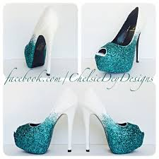 Wedding Shoes Peep Toe Glitter High Heels Teal Blue White Ombre Peep Toe Pumps Blue