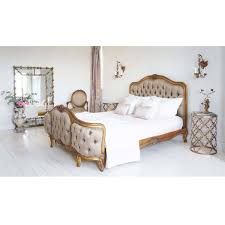 French Bedroom Furniture Versailles Curved Upholstered Bed Luxury Bed