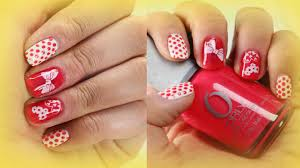 stamping nail art design ideas for beginners hearts bow and