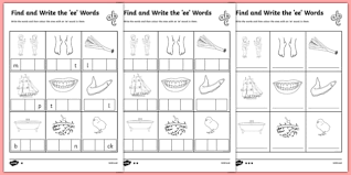 ee worksheet find and write the ee words differentiated