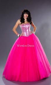 fuchsia quinceanera dresses sequin floor length sleeveless strapless fuchsia gown