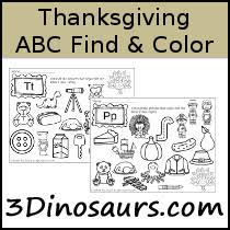 3 dinosaurs thanksgiving abc find color