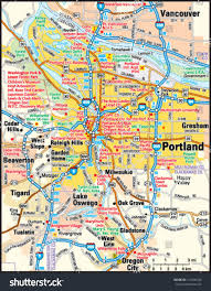 Map Of Portland Portland Oregon Area Map Stock Vector 144150109 Shutterstock