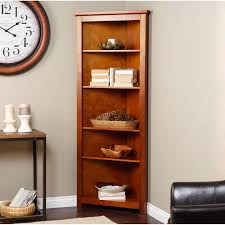 Narrow Corner Bookcase by Finley Home Redford Corner Bookcase Oak Walmart Com