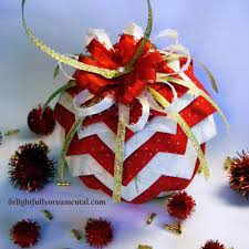 happy sunday show and tell folded fabric pinecone ornament