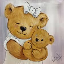 tableau pour chambre bébé fille peinture ourson maman et bébé peinture ourson ourson